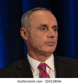 WASHINGTON, DC - SEPTEMBER 28, 2015: Rob Manfred, Commissioner of Major League Baseball, is interviewed by legendary journalist Marvin Kalb at the National Press Club in Washington, DC