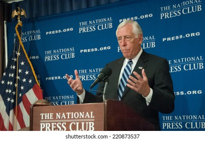 WASHINGTON, DC - SEPTEMBER 29, 2014 - Congressman Steny Hoyer, Democratic Whip in the U.S. House of Representatives, speaks at a press conference at the National Press Club