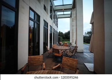 Washington, DC - September 30, 2018: A view of an elegant terrace of a multi-million dollar mansion.