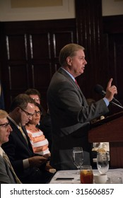Washington, DC - September 8, 2015: Senator Lindsey Graham, candidate for the Republican presidential nomination, speaks at a National Press Club luncheon.