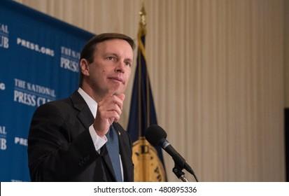 Washington, DC - September 8, 2016: Senator Chris Murphy (D-CT) speaks on reform of gun laws at a National Press Club luncheon.