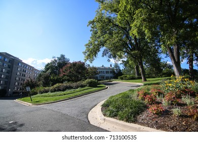 Washington, DC - September 9, 2017: The President's House at American University on a sunny September afternoon.