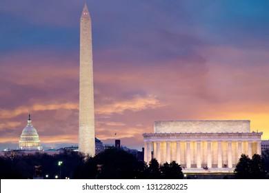 Skyline der Washington DC inklusive Lincoln Memorial, Washington Monument und The United States Capitol Building