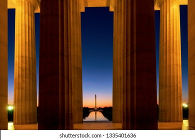 Washington DC Skyline, Panoramic  Sunrise  view at Washington Monument through Lincoln Memorial at Sunrise, Washington DC