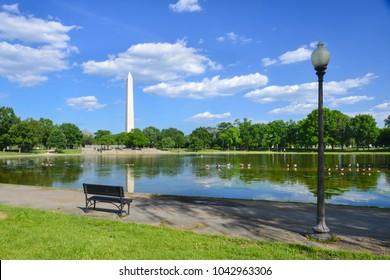 Washington DC in springtime - Constuitution Gargens and Washington Monument