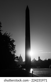 Washington D.C. - Sunrise at Lincoln Memorial with silhouettes of Capitol Building and Washington Monument - Black and White toned