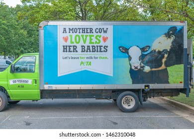 Washington DC, United States 7/25/2019. The PETA vehicle at the Animal Rights 2019 National Conference