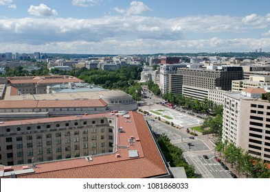 Washington DC, United States - An aerial view over Pennsylvania Avenue