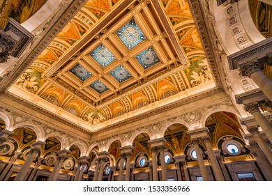 WASHINGTON, DC, UNITED STATES - APRIL 2, 2019 Thomas Jefferson Building Library of Congress Stained Glass Ceiling Washington DC. Opened 1897.  National Library