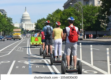 Washington DC / United States - August 17 2014: Pennsylvania Avenue in Washington DC. The Avenue connects The Capitol to White House and it is the main tourist attraction in the city.