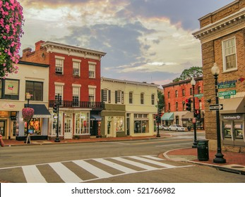 WASHINGTON D.C., UNITED STATES - AUGUST 15, 2013 -   Architecture of picturesque area of Georgetown, Washington DC, United States
