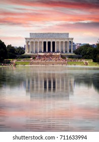 WASHINGTON D.C., UNITED STATES - AUGUST 9, 2017: Lincoln Memorial during sunset