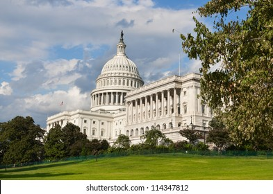 Washington DC, United States Capitol Building in autumn in  very dramatic clouds