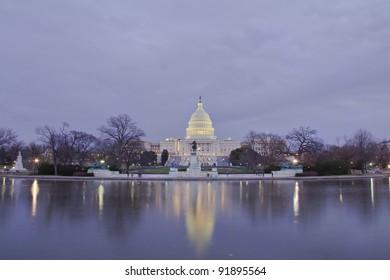 Washington DC, United States Capitol Building at Sunset