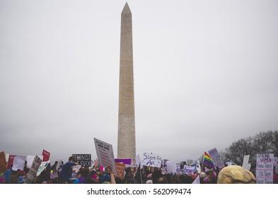 Washington D.C., United States - January 21st 2017 - Protesters gather at the Women's March on Washington next to the Washington Monument