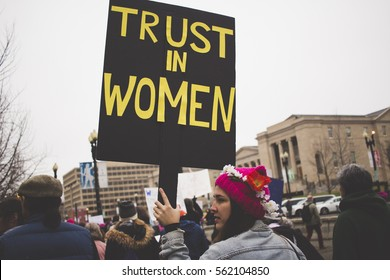 Washington D.C., United States - January 21st 2017 - Protesters gather at the Women's March on Washington
