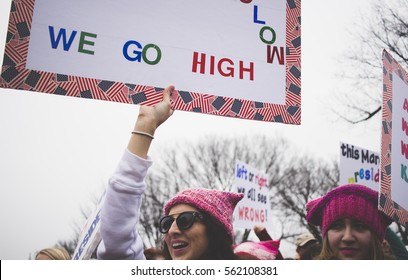 Washington D.C., United States - January 21st 2017 - Protesters hold up signs at the Women's March on Washington