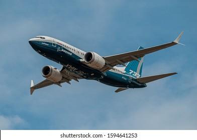 WASHINGTON, DC, UNITED STATES - Jul 16, 2018: Boeing 737-7 MAX displaying at the Farnborough International Airshow in July 2018