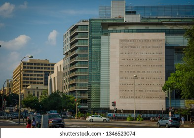 WASHINGTON D.C., UNITED STATES – July 26th, 2015: The first amendment to the United States Constitution is engraved in a wall outside the Newseum museum.
