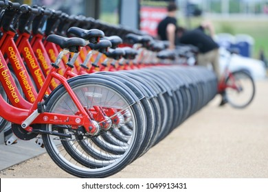 WASHINGTON DC / UNITED STATES - JUNE 26 2014: Capital Bikeshare station. Bike share system widely used by the tourist to visit National Mall that covers a large area in Washington DC United States