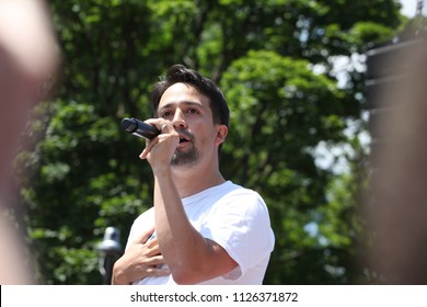 Washington, DC / United States - June 30 2018: Thousands of people march on Washington to protest the separation of children from their families at the border. Lin-Manuel Miranda made an appearance