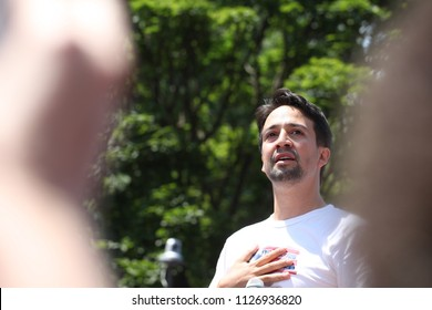Washington, DC / United States - June 30, 2018: Thousands take to the streets of DC to protest the separation of families at the border. Joined by Lin-Manuel Miranda.