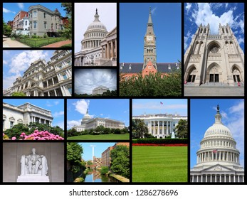 Washington DC - United States photo collage with landmarks and architecture.