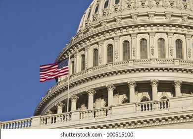 Washington DC, United States ,US Capitol Building Dome detail with American Flag,