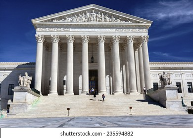 WASHINGTON, DC, UNITED STATES-SEPTEMBER 26, 2014 White US Supreme Court Front Steps and Columns on Capitol Hill in Washington DC