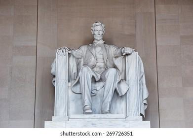 Washington DC, US - April 05, 2015 - Statue of Abraham Lincoln, Lincoln Memorial, Washington DC