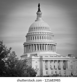 Washington DC, US Capitol Building in autumn - Black and white
