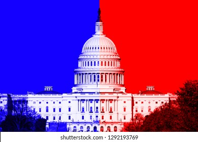 Washington DC, US Capitol Building; with divided blue and red color overlay.