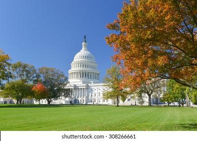 Washington DC, US Capitol Building in Autumn
