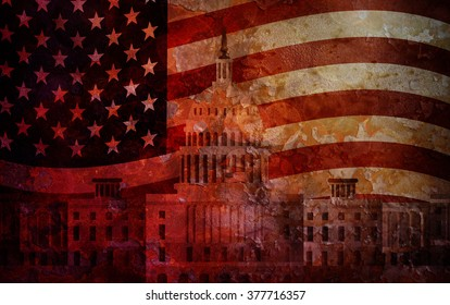 Washington DC US Capitol Building with American Flag Grunge Texture Background Illustration