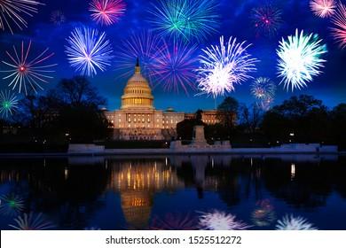 Washington D.C. Us capitol, fireworks celebration USA