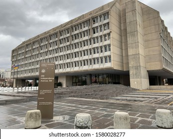Washington DC / US - December 02, 2019: Outside United States Department of Health and Human Services headquarters, exterior of Herbert Humphrey federal office building