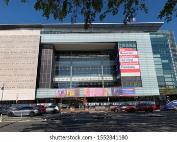 Washington, DC / US - November 06, 2019: Direct strait on street level view of The Newseum, museum desiccated to free speech and journalism that closes at the end of 2019