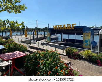Washington, D.C. / US - September 25 2019: The Wharf small stage in the newly built restaurant and retail corridor in southwest DC
