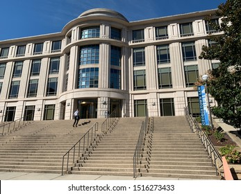 Washington, DC / US - September 27 2019: Main entrance to Georgetown University School of Law main building in Capitol Hill