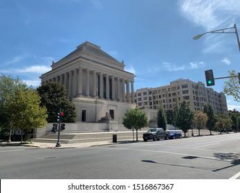 Washington, DC / US - September 27 2019: Wide view of the Scottish Rite of Freemasonry temple building in Washington DC