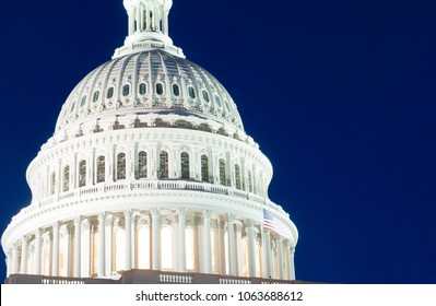 Washington DC, USA 04/06/2018- The US Capital dome is seen at blue hour.