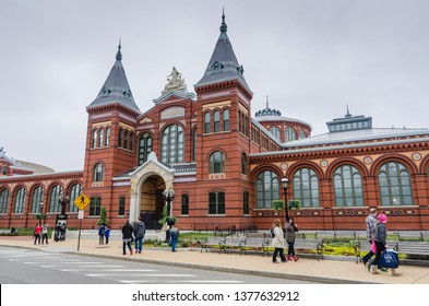 """Washington, DC / USA - 04/09/2015:The Smithsonian Institution Building (""""the Castle"""") located houses the Smithsonian Institution's administrative offices and information center."""