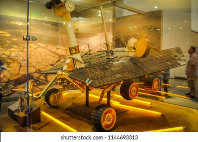 Washington DC, USA; 05 24 2014: A replica of the NASA's robotic Mars rover Opportunity, also known as Mars Exploration Rover MER B or 1, , exhibited at the Smithsonian National Air and Space Museum.