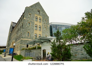 Washington, DC / USA - 10 13 2017: Campus building on the Georgetown University campus. Georgetown is located in Washington, DC.