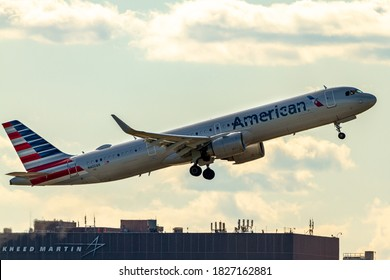 Washington DC, USA 10/03/2020: Airbus A321 253NX model airplane operated by American Airlines is going up in air after take off from Ronald Reagan National Airport.