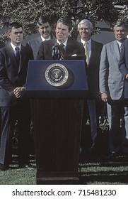 Washington DC USA, 10th April, 1984President Ronald Reagan in the Rose Garden prior to signing the Farm Bill