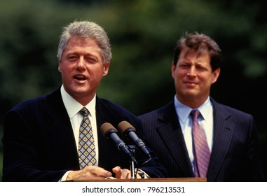 Washington DC., USA, 10th August, 1993 President William Clinton and Vice President Albert Gore address the crowd gathered on the South Lawn to witness the signing of the Budget Deficit Bill