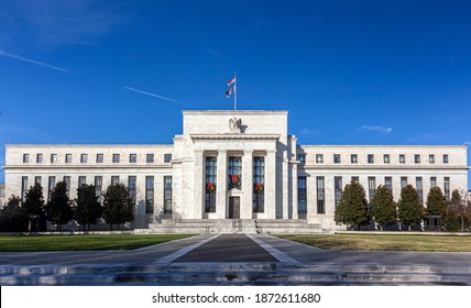 Washington DC, USA, 11-29-2020:  Panoramic view of the Marriner S. Eccles Federal Reserve Board Building (Eccles Building) that houses main offices of the Board of Governors of US Federal Reserve.