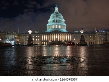 Washington, DC / USA - 12 21 2018: White House Shutdown Looms at Capitol Building