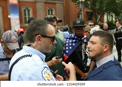 Washington, D.C., USA. 12 Aug 2018. Jason Kessler, leader of the Unite the Right protest, and other white nationalists are briefed by the United States Park Police on logistics.